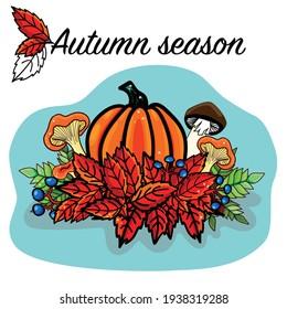 Romantic autumn card Hello Autumn. Acorns, fall leaves, mashroom pumpkin