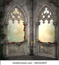 Romantic background with red roses