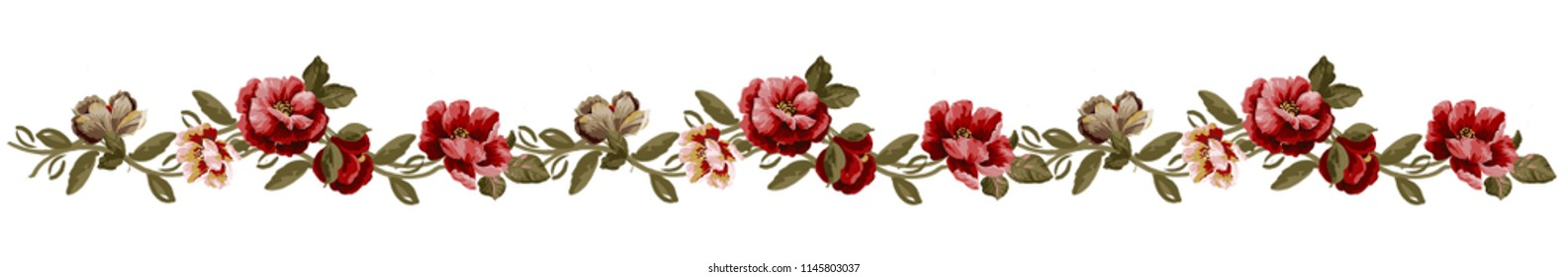 romantic beautiful floral repeat pattern. embroidery or print. border style. seamless flower pattern.