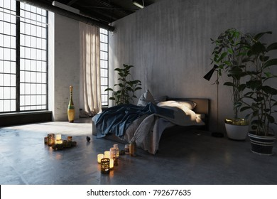Romantic bedroom with burning candles in a high volume converted industrial loft interior with large windows and green leafy houseplants. 3d rendering illustration