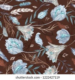 Romantic Boho Chic Watercolor Pattern with Feathers Seamless texture with flowers and crystals isolated on dark brown background for textile and wallpaper design