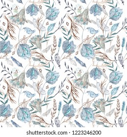 Romantic Boho Chic Watercolor Pattern with Feathers Seamless texture with flowers and crystals isolated on white background for textile and wallpaper design
