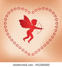 romantic card with angel for valentine day