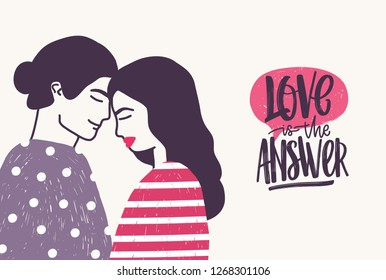 Romantic couple on date and Love Is The Answer phrase written with cursive font. Hugging boyfriend and girlfriend and handwritten lettering. illustration for St. Valentine's Day greeting card