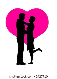 kissing couple silhouette stock vector royalty free 255761806