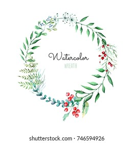 Romantic cute wreath of leaves. Watercolor illustration on white isolated background.