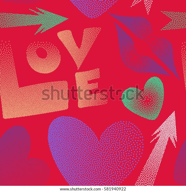 Romantic design in red, purple and violet colors. Flat design of hearts, cupid's arrow, lipstick kisses and love word. Seamless pattern of icon love symbols.