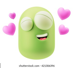 Romantic Emoticon Character Face Expression. 3d Rendering.