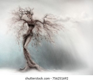 Romantic fairytale tree nymph in pastel colors