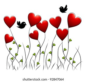 romantic floral background with birds and hearts