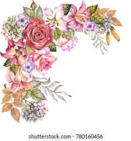 romantic flowers corner.watercolor