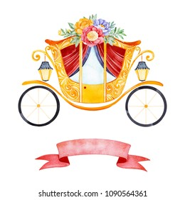 Romantic illustration with carriage princess decorated lovely flowers,leaves,branches and pink ribbon for your unique text.Perfect for wedding,invitations,blogs,template card,Birthday,baby shower,logo