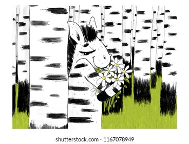 with a romantic illustration of a Zebra standing in a birch grove