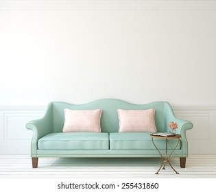 Romantic interior with blue couch near empty white wall. 3d render.