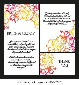 Vintage Delicate Invitation Flowers Wedding Marriage Stock Vector