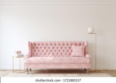 Salón romántico con sofá rosa. Burla interior. 3d de representación.