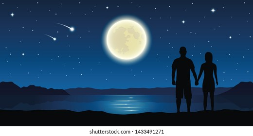 romantic night couple in love at the lake with full moon and falling stars  illustration