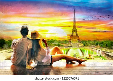 Romantic oil painting of couple loking too sunset And Eiffel tower in Paris, oil on canvas, colorful, watercolor, love, art