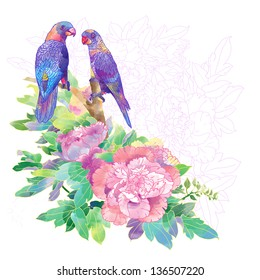 romantic parrots and exotic flowers