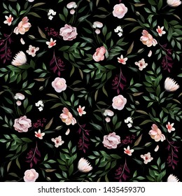 A romantic pattern composed of painted flowers. Bright flowers contrast with the dark background. Feminine and delicate composition.