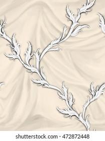 Romantic pattern on beige pleats