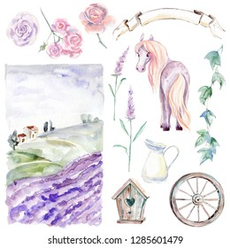 Romantic Provence graphic watercolor collection. Pastoral landscape, horse, flowers and plants, birdhouse, wheel and ribbon.