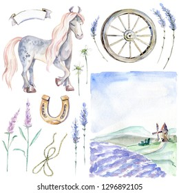 Romantic Provence graphic watercolor collection. Pastoral landscape, horse, flowers and plants, wooden wheel and horseshoe.