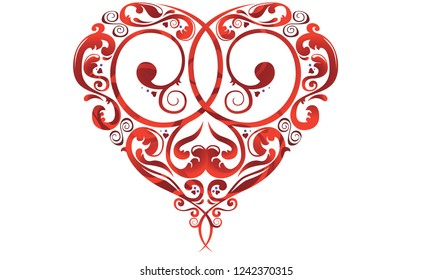 Romantic red heart with interlocking scrolls for Valentine's Day.