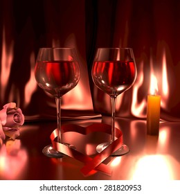 Romantic scene with two glasses of good red wine, a rose, and a lit candle. This illustration symbolizes love.