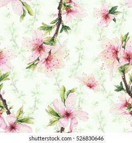 Romantic seamless pattern with almond blooming branch. Hand drawn watercolor