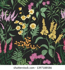 Romantic seamless pattern with tender wild blooming flowers and meadow flowering herbs used in floristry on black background. Floral hand drawn illustration for backdrop, wrapping paper