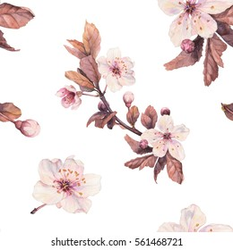 Romantic seamless pattern with watercolor cherry flowers. For wedding invitations, greeting cards, designs, fabric, wallpapers, backgrounds