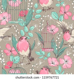 Romantic seamless patterns with wild roses, robin birds, cages, vintage style. Wallpaper, textile print.