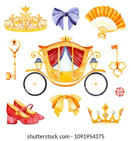 Romantic set with carriage princess,crown,golden keys,colorful bows,hand fan,shoes,gemstone.Perfect for wedding,invitations,blogs,template card,Birthday,baby shower,logos,bridal shower etc