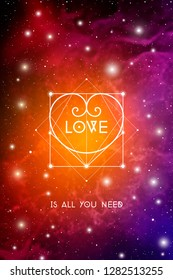 Romantic space Valentine's day greeting card with geometric sacred geometry hipster style heart on colorful cosmos background.