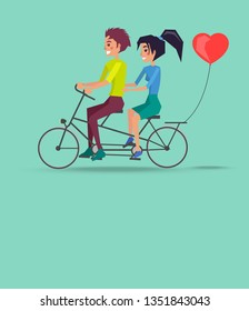 Romantic travel raster illustration with couple riding on twin bike with heart shape balloon at back, happy lovers having fun together, Valentines Day