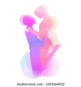 Romantic Valentine lovers silhouette on watercolor background. Love at first sign concept.  Engagement couple. Happy valentine's day