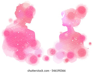 Romantic Valentine lovers silhouette on watercolor background. Love at first sign concept.