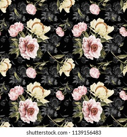 Romantic vintage seamless pattern with watercolor peonies. For backgrounds, greeting cards, invitations, fabrics, wallpapers and other designs and decorations