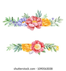 Romantic watercolor frame border with peony,rose,leaves,flowers,branches and berries.Watercolor bouquets for your design.Perfect for wedding,invitations,blog,template card,Birthday,baby cards,greeting