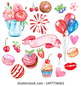 Romantic watercolor set for party, Valentines Day, birthday,bridal shower. Hand painted symbols of love. Red hearts, kiss, lips, air balloons, flowers, ice cream, sweets and treats, firework, fruits.