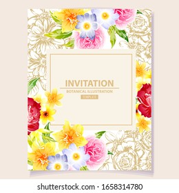 Romantic wedding invitation card. Wedding, marriage, bridal, birthday, Valentine's day.