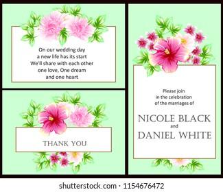 Romantic Invitation Wedding Marriage Bridal Birthday Stock
