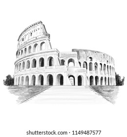 Rome Colosseum Pencil Sketch Illustration