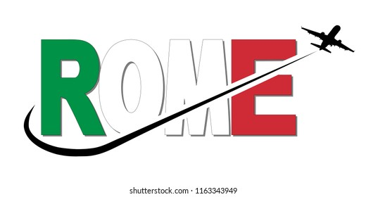 Rome flag text with plane silhouette and swoosh illustration