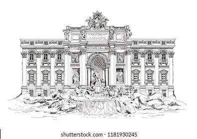 Rome, fountain Trevi. Roman classic architecture. Sketch