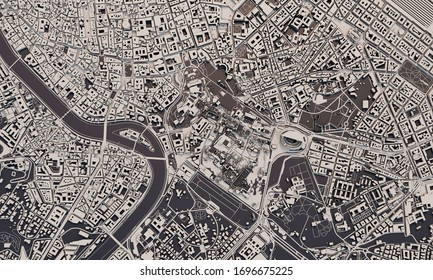Rome, Italy city map 3D Rendering. Aerial satellite view.