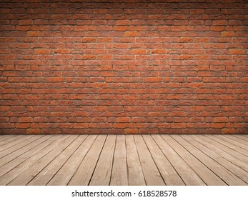 Romm with brick wall and wood floor 3D illustration