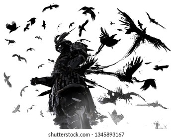Ronin in terrible armor unwaveringly stands in a whirlwind of crows