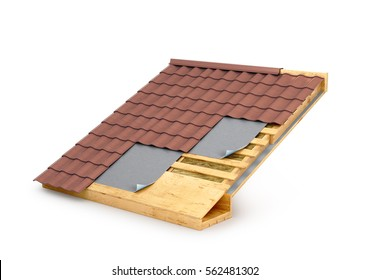 roof in terms. Roof insulation. 3D illustration